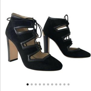 Jimmy Choo Seude and Leather Lace Up Bootie